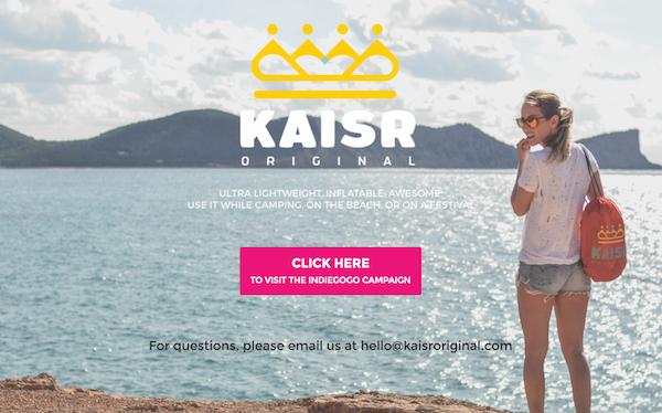 Kaisr, Innovando el Confort Playero Récord en Indiegogo